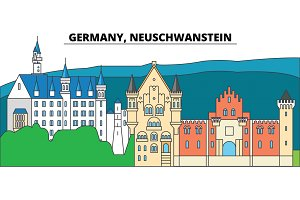 Germany, Neuschwanstein. City skyline, architecture, buildings, streets, silhouette, landscape, panorama, landmarks. Editable strokes. Flat design line vector illustration concept. Isolated icons