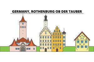 Germany, Rothenburg Ob Der Tauber. City skyline, architecture, buildings, streets, silhouette, landscape, panorama, landmarks. Flat design line vector illustration concept. Isolated icons