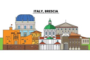 Italy, Brescia. City skyline, architecture, buildings, streets, silhouette, landscape, panorama, landmarks. Editable strokes. Flat design line vector illustration concept. Isolated icons
