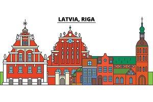 Latvia, Riga. City skyline, architecture, buildings, streets, silhouette, landscape, panorama, landmarks. Editable strokes. Flat design line vector illustration concept. Isolated icons