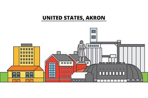 United States, Akron. City skyline, architecture, buildings, streets, silhouette, landscape, panorama, landmarks. Editable strokes. Flat design line vector illustration concept. Isolated icons