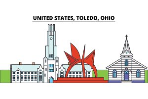 United States, Toledo, Ohio. City skyline, architecture, buildings, streets, silhouette, landscape, panorama, landmarks. Editable strokes. Flat design line vector illustration concept. Isolated icons