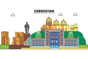 Uzbekistan. City skyline, architecture, buildings, streets, silhouette, landscape, panorama, landmarks. Editable strokes. Flat design line vector illustration concept. Isolated icons