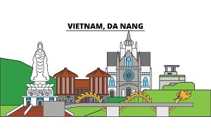 Vietnam, Da Nang. City skyline, architecture, buildings, streets, silhouette, landscape, panorama, landmarks. Editable strokes. Flat design line vector illustration concept. Isolated icons
