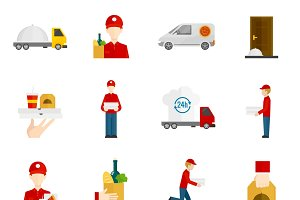 Food delivery flat icons set