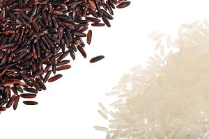 Black and white wild rice isolated on white background close up. Top view. Flat lay