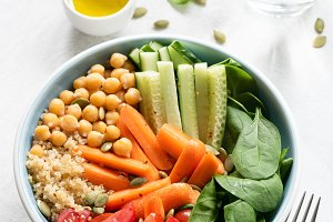 Nourishing buddha bowl on white