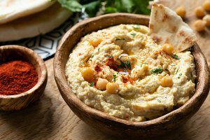 Homemade chickpea hummus in bowl