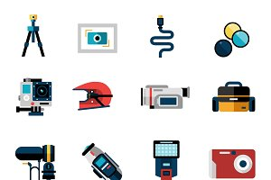 Photo and video camera icons set