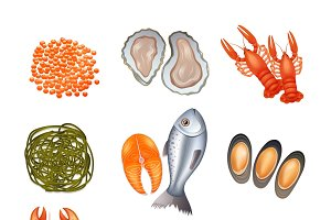 Seafood decorative icons set
