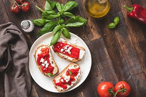 Italian bruschetta with peppers
