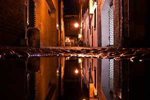 Dark Alley at Night in Italy