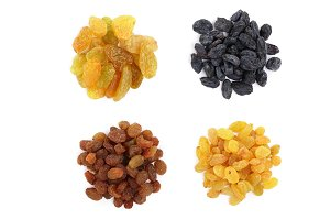 Collection of raisins isolated on a white background. Top view. Flat lay