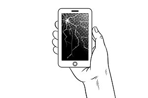 Smart phone and broken screen coloring vector
