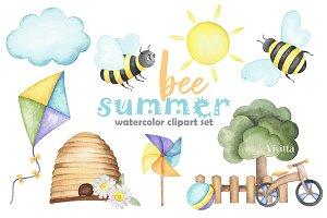 "Watercolor clipart ""Bee Summer"""