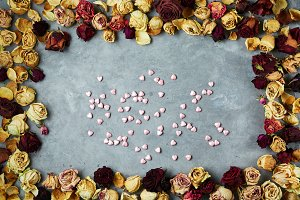 small decorative hearts in frame from dried roses buds on the gray concrete background
