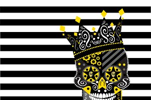 King skull icon abstract with black