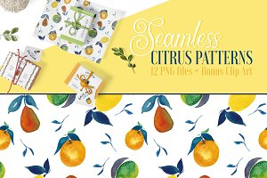 Seamless Citrus Patterns + Clip Art