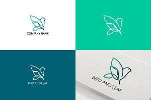 Leaf and bird logo design