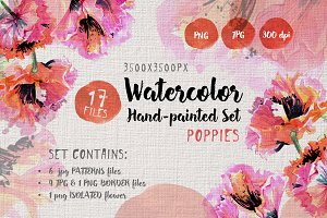 Gentle poppies PNG watercolor set