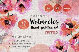 Gentle poppies PNG watercolor set