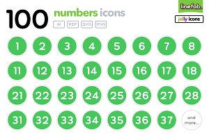 100 Numbers Icons - Jolly - Green