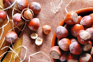 Group of  hazelnuts on a table top