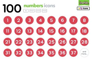 100 Numbers Icons - Jolly - Red