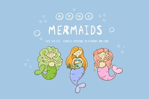 Vector mermaids set.