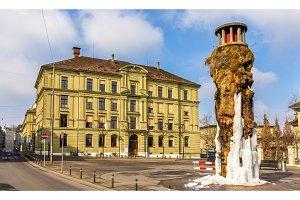 Frozen Meret Oppenheim Fountain in Bern, Switzerland