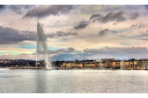 View of Geneva with the Jet d'Eau fountain - Switzerland