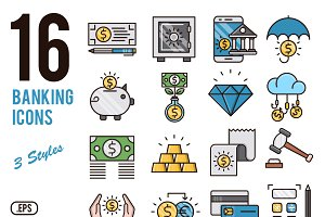 Banking vector icons set