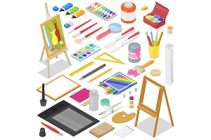 Artist tools vector watercolor with paintbrushes palette and color paints on canvas for artwork in art studio illustration artistic painting set isolated on background
