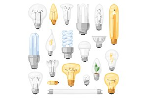 Light bulb vector lightbulb idea solution icon and electric lighting lamp cfl or led electricity and fluorescent light illustration set isolated on white background