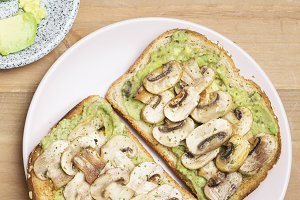 Bread avocado and mushroom