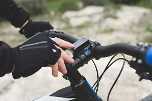 Mountain biker using speedometer