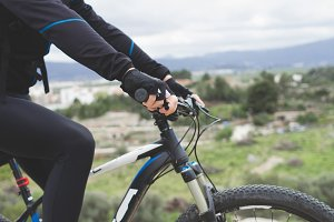 Mountain biker with landscape