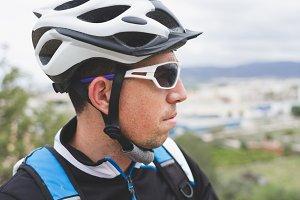Biker looking the landscape