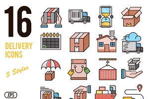 Delivery vector icons set