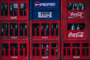 Pepsi Coca Cola Bottles Stacked