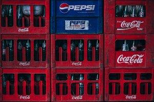 Pepsi Coca Cola Bottles Stacked