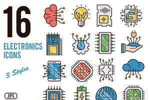 Electronics vector icons set