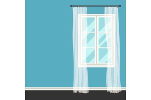 White plastic window with transparent curtains on wall