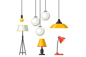 Set of lamps. Furniture chandelier, floor and table lamp