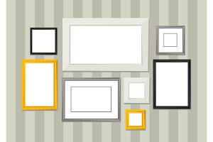 Set of various frames for pictures and photos on wall