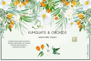 Kumquat & white orchids. Tropical