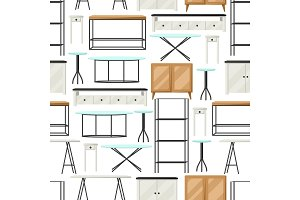 Interior and furniture pattern. Shelving with shelves, cupboards and tables