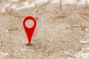 Red pin, point on the old map