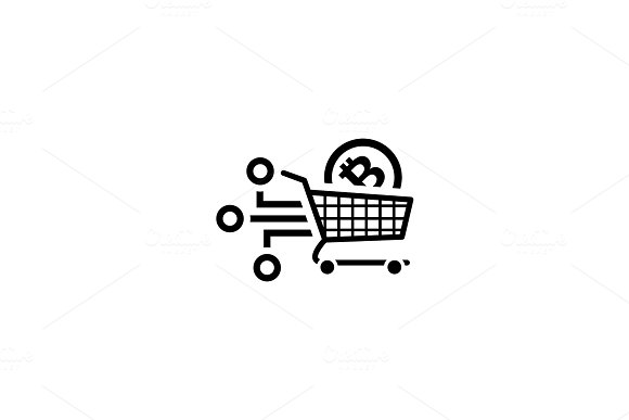 Shopping with Crybtocurrency Icon.