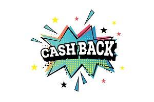 Cash Back Pop Art Emblem.